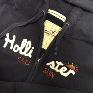 Navy Hollister Zip Up Hoodie